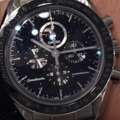 My camera wouldn't focus when I took this, but this Speedmaster's Aventurine dial really looks great. Definitely the Speedmaster for you if you like some panache to your watch or are a big astrology enthusiast.