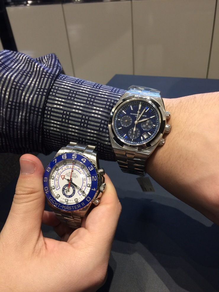 Rolex First Generation Yacht-Master II in Stainless Steel Pictured w/ Vacheron Constantin Overseas Chronograph in Blue